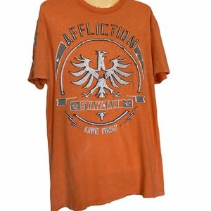 Affliction Distressed Short Sleeve Tee Shirt